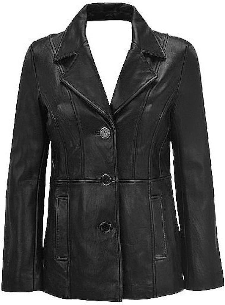 Womens Athena 3 Button Leather Coat