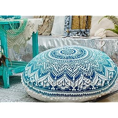 Bohemian Ombre Indian Mandala Pouf / Floor Cushion Cover Blue 30  by MandalaLifeART