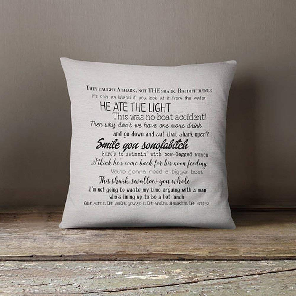 High Quality Jaws Movie Quote Pillow Cover Movie Quotes Movies Washable Pillow Cover Fiber Arts Home Textiles Eco Inks Handmade Cjp Org In