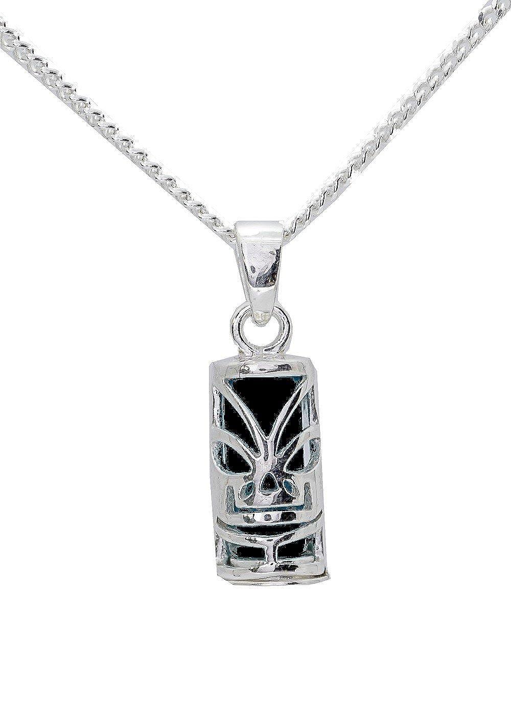 Amulette tahitienne porte bonheur tiki et sa chaine 50cm en argent massif 925 neuf et avec boite coffret noir