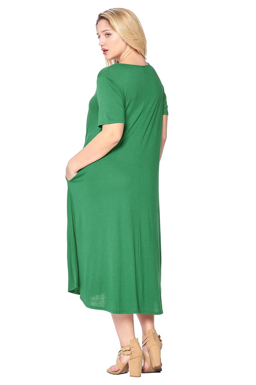 Modern Kiwi Womens Plus Size Short Sleeve Flowy A-Line Pocket Midi Maxi Dress 1X-4X