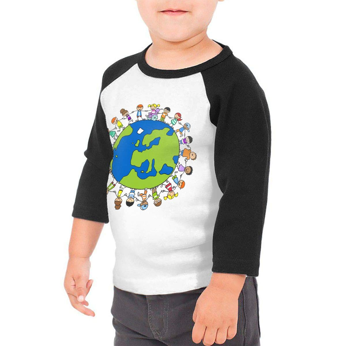 World Map Family Earth Unisex 100/% Cotton Childrens 3//4 Sleeves T-Shirt Top Tees 2T~5//6T