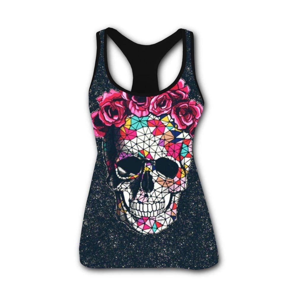 Cute Skull Roses 3D Print Summer Fashion Sleeveless Tanks Vest T-Shirt Women Girl L