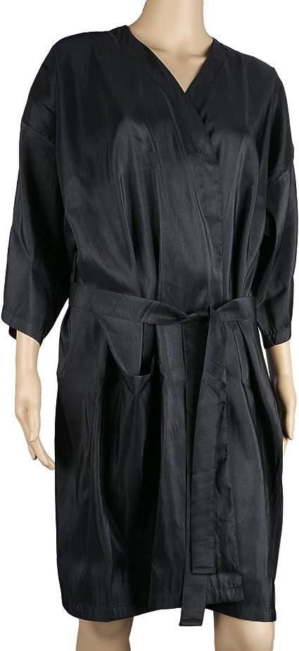 Image ofBata de masaje en el spa, bata de kimono de salón negro de Segbeauty para el color del cabello Maquillaje del cliente Vestido de bata de salón para salón de belleza, uniforme de cliente