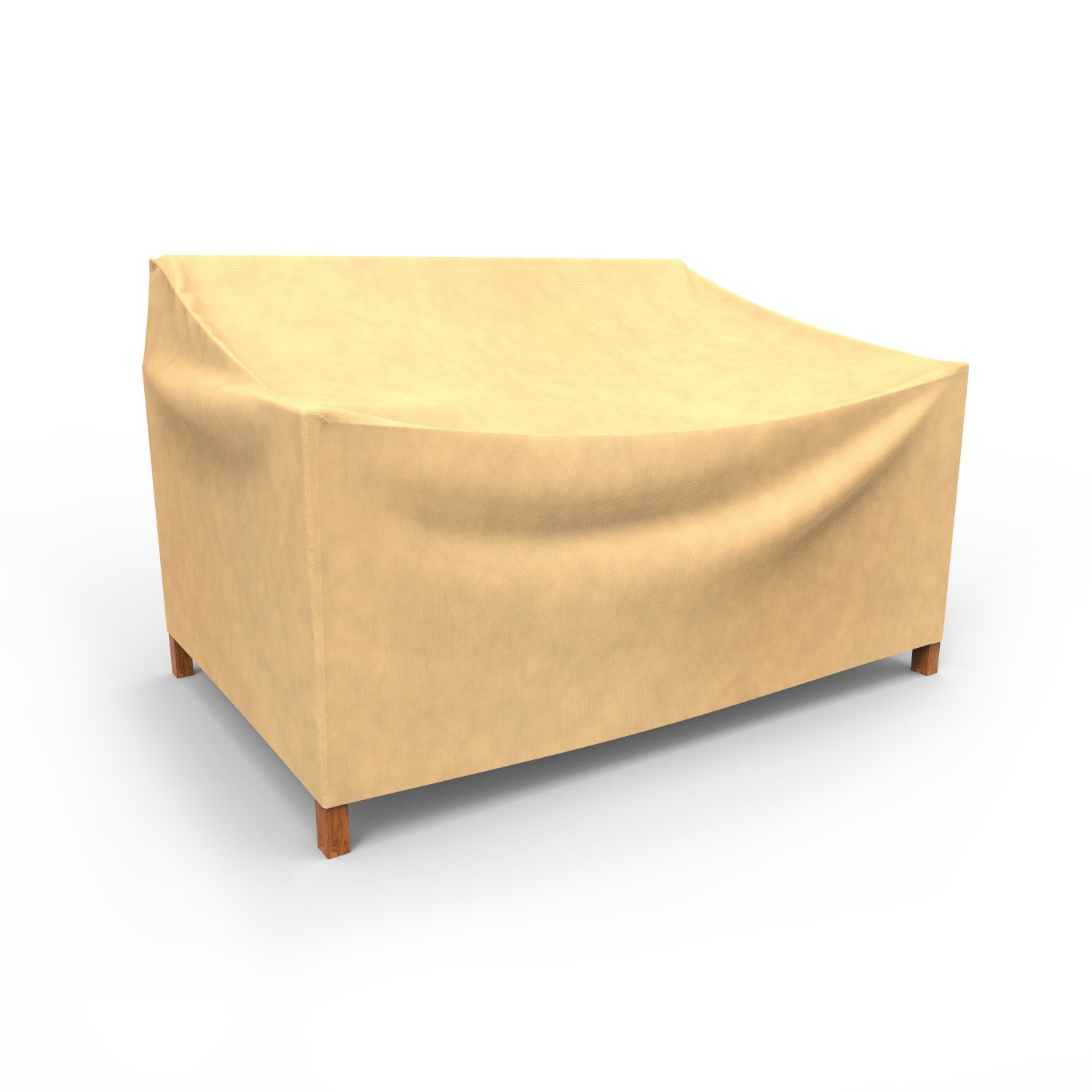 Superb Budge All Seasons Outdoor Patio Loveseat Cover Small Tan Bralicious Painted Fabric Chair Ideas Braliciousco
