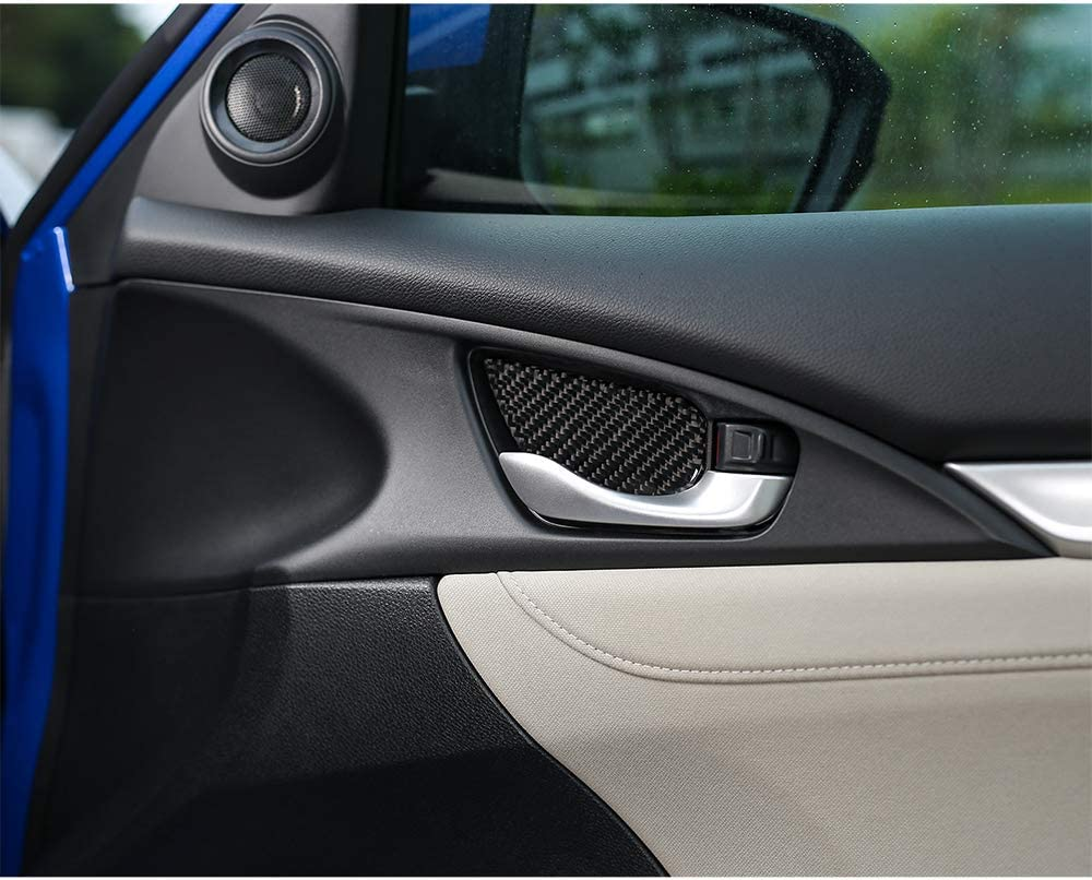 Thenice for 10th Gen Civic Real Carbon Fiber Door Wrist Trim Inner Door Handle Decoration Cover for Honda Civic 2020 2019 2018 2017 2016 with Si