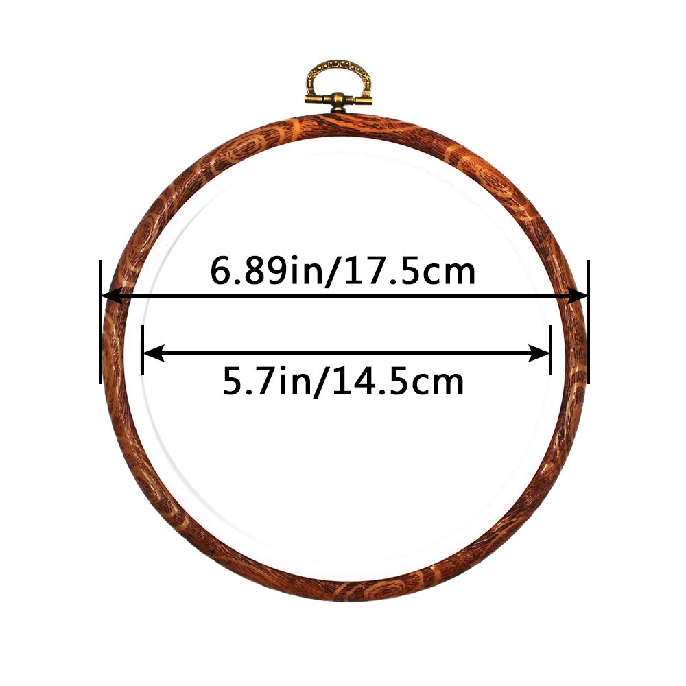 Erlvery DaMain 3 Pieces 6 inch Round Embroidery Hoops Bulk Imitated Wood Circle Cross Stitch Hoop Ring