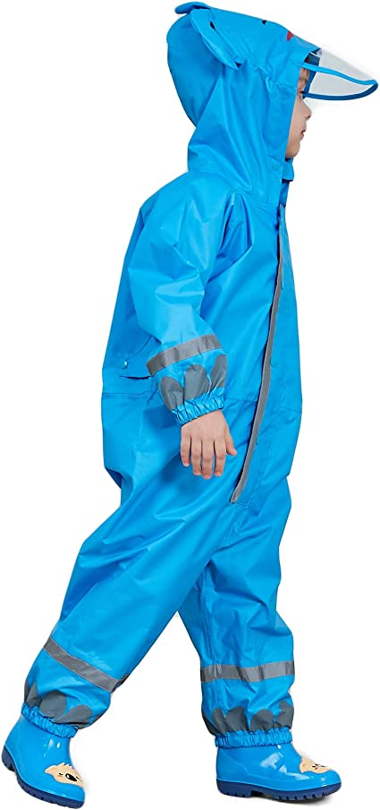 LIVACASA Bwiv 3D Cute Raincoat Kids Waterproof Breathable Rainsuit All in One Puddle Suits Boys Girls Hooded Muddy Suit with Reflector Lightweight PVC Transparent Hat Brim for Kids
