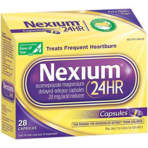 Nexium 24HR  (20mg, 28 Count) Delayed Release Heartburn Relief Capsules, Esomeprazole Magnesium Acid Reducer