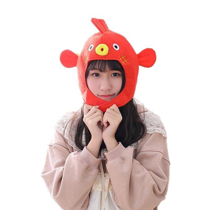1abaf89f856 Amazon.com  WINZIK Headwear Novelty Funny Puffer Fish Hat Headgear Head  Cover Animal Plush Cap Halloween Costume Party Photo Props  Clothing