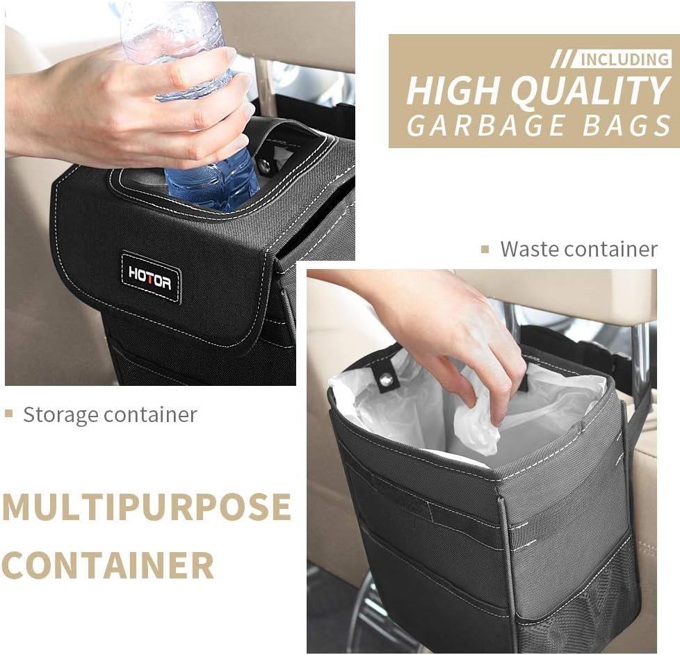 100/% Leak-Proof Car Organizer HOTOR Car Trash Can with Lid and Storage Pockets Waterproof Car Garbage Can Multipurpose Trash Bin for Car Black
