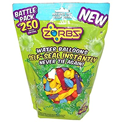 Zorbz Self-sealing Water Balloons 250 count Battle Pack and Filler Nozzle: Toys & Games