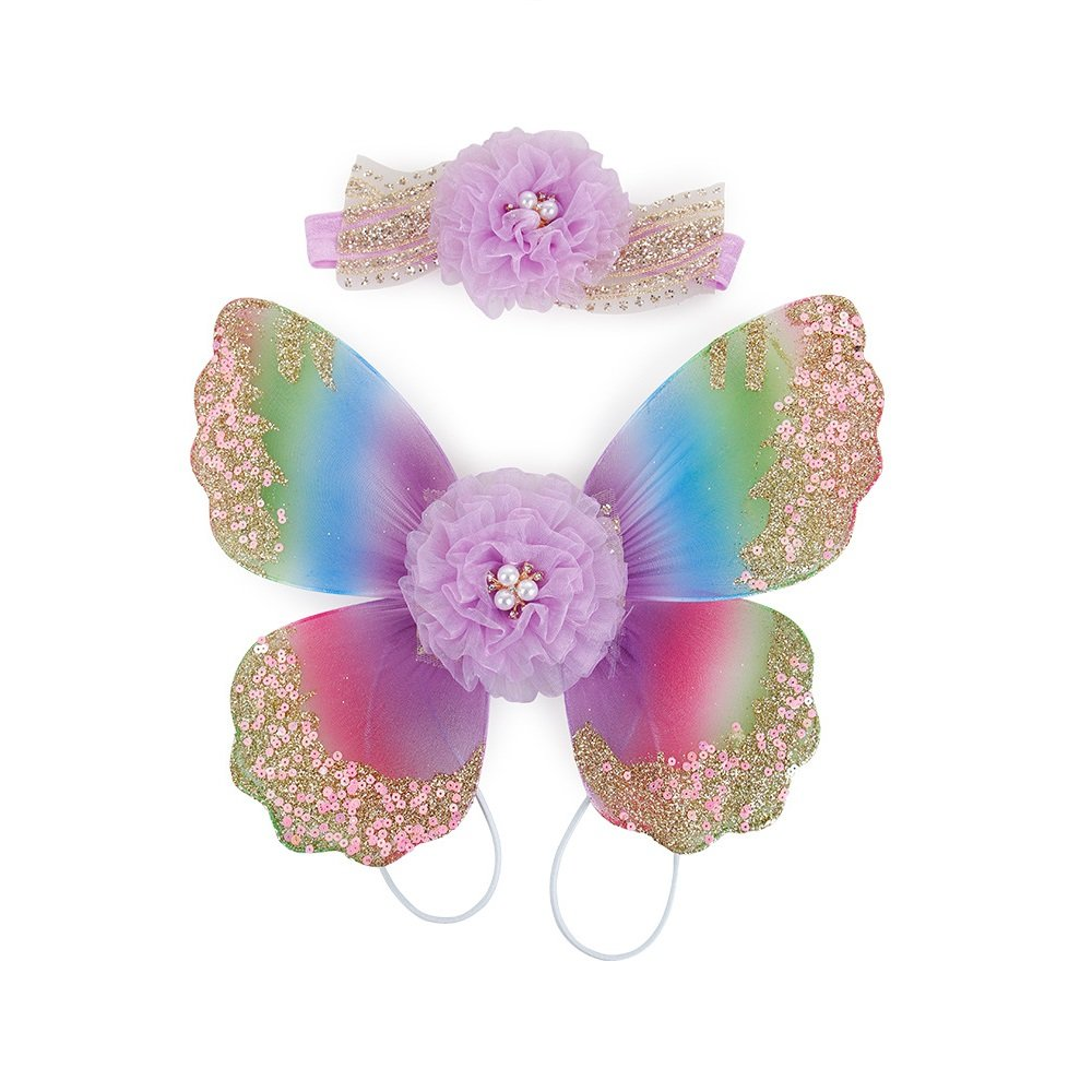 Stock Show Pet Dog Beautiful Blingbling Butterfly Wing Harness and Flower Headdress Pet Dog Princess Sweet Harness Ornament Dog Puppy Flower Bowtie Hair Accessories for Small Medium Dogs, Purple