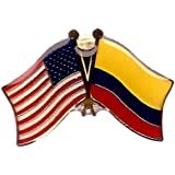 BOX Of 12 Colombia U0026 US Crossed Flag Lapel Pins, Colombian U0026 American  Double Friendship