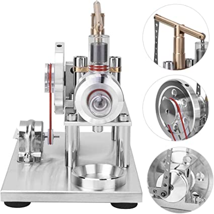 Sharplace Set Stirling Motore Generatore di Corrente Combustione Esterna Lampada Instrumento per Fisica Vetro 16.5x9.5x12.5cm