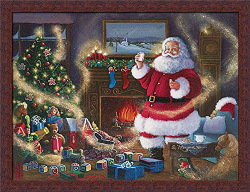 The Magic of Giving Morgan D Santa Claus Christmas Tree Framed Art Print Wall Decor Picture (Art Christmas Santa)