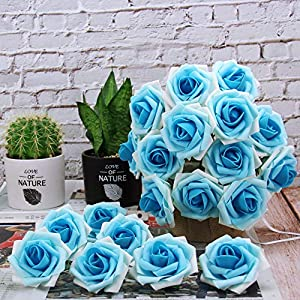 Marry Acting Artificial Flower Rose, 30pcs Real Touch Artificial Roses for DIY Bouquets Wedding Party Baby Shower Home Decor (Gradual Flower Blue) 2