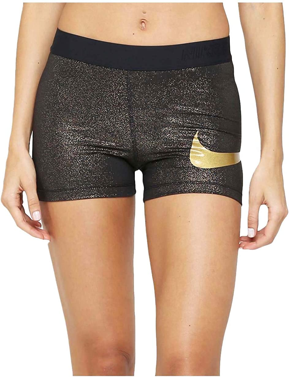 """Nike Womens Pro Cool 3/"""" Sparkle Glitter Shorts Gold//Silver New"""