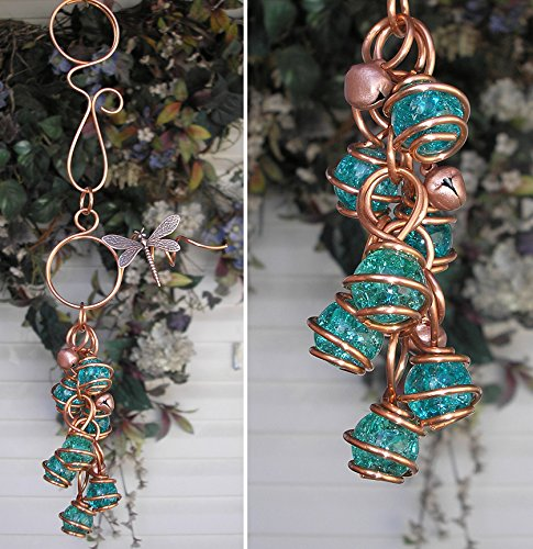 Dragonfly Wind Chimes Glass Copper Garden Art Lawn Ornament Windchime Teal