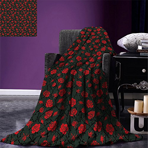 smallbeefly Red and Black Custom printed Throw Blanket Rose Swirls Ivy Plants Dark Mysterious Forest Themed Pattern Velvet Plush Throw Blanket Charcoal Grey and Ruby
