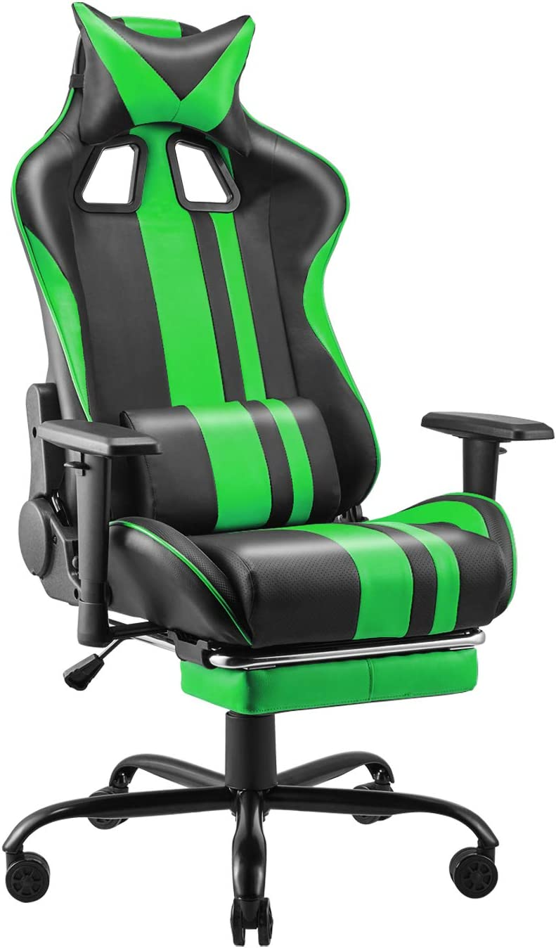 Soontrans High Back Computer Chair,PU Leather Desk Chair,Home Office Chair, Gaming Chair with Height Adjustment Recliner with Headrest and Lumbar Support Retractable Footrest(Field Green)