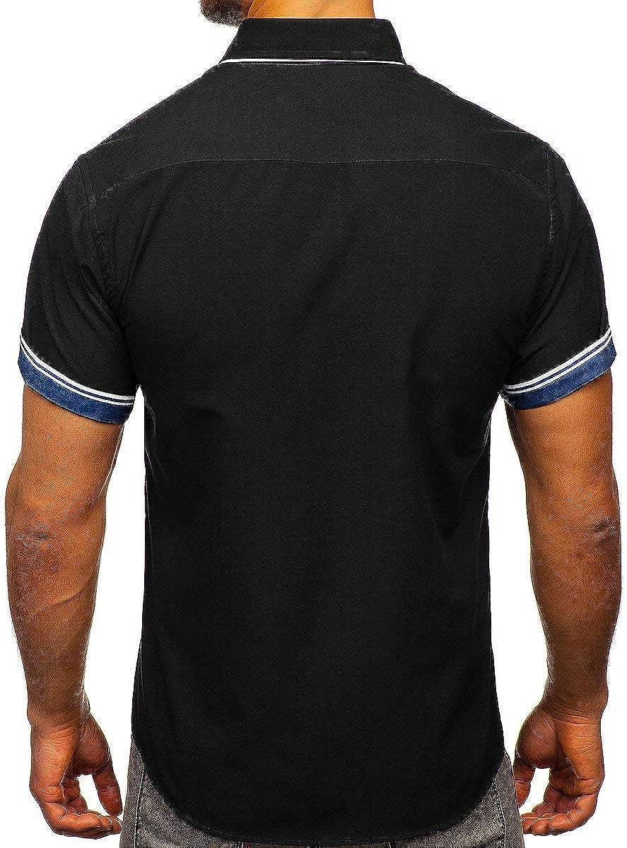 BOLF Herren Hemd Kurzarm Unifarben Casual Freizeit Sommer Klassische Modelle 2B2