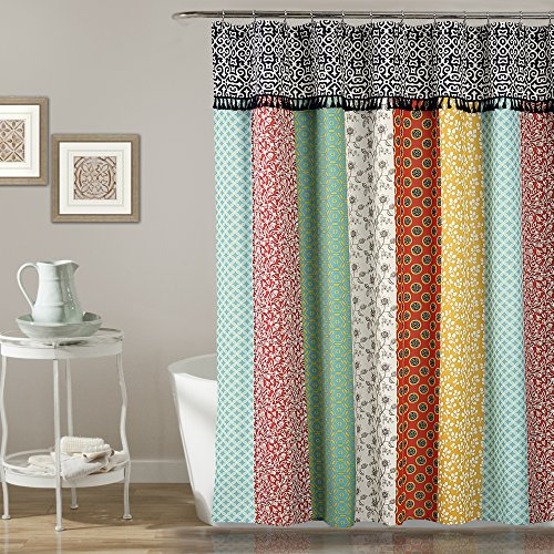 - Lush Decor Boho Patch Shower Curtain-Fabric Bohemian Colorful Print Vertical Stripe Design with Tassels, 72