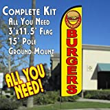 Burgers (Yellow/Red) Windless Feather Banner Flag Kit (Flag, Pole, & Ground Mt)