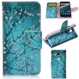 Nexus 5X Case,Gift_Source Brand [Blue Flower ][Kickstand Feature][Slim Fit] Premium PU Leather Wallet Case Stand Flip Cover with Card Slots Leather Case for LG Google Nexus 5X (2015)