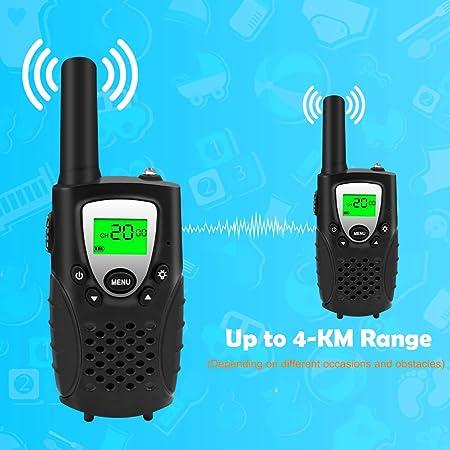 Walkie Talkies, Niños PMR 446 MHz 0.5W 8 Canales, LCD Pantalla Función VOX Linterna Incorporado con Larga Distancia, Regalos de Cumpleaños Chico ...