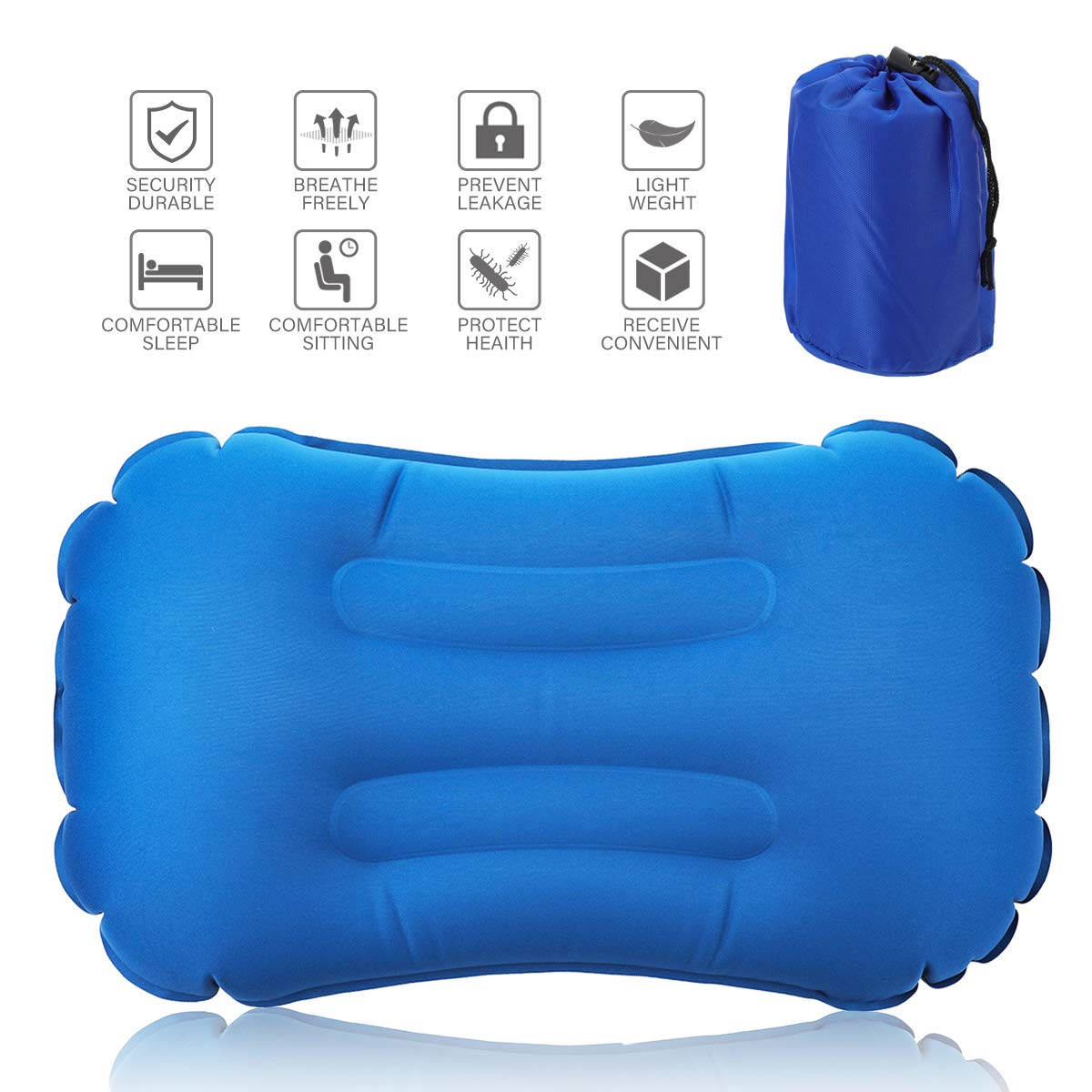 Inflatable Camping Pillow,CAMTOA Inflating Pillow,Blow Up Pillow,Air Pillow-Ultralight Compressible,Ergonomic,Soft Fabric,Comfortable,Portable with Storage Bag Portable for Backpacking,Hiking,Traveling,Tent,Hammock,Airplane,Beach,Road Trips,Office