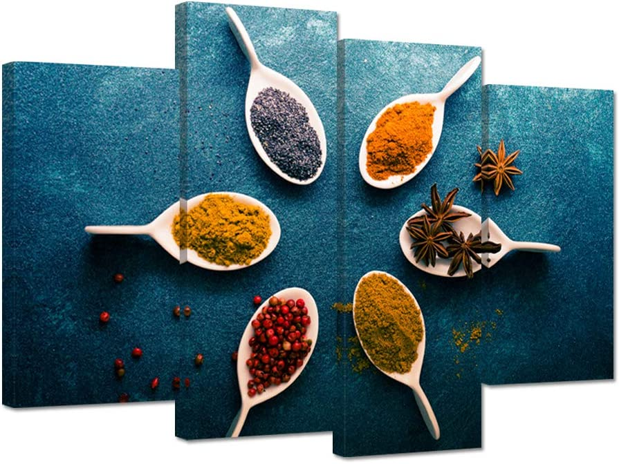 iHAPPYWALL 4 Pieces Kitchen Pictures Wall Decor Six Colorful Spoon of Spices on Vintage Blue Artwork Food Photos Painting On Canvas For Dining Room Home Decoration Stretched and Framed Ready to Hang