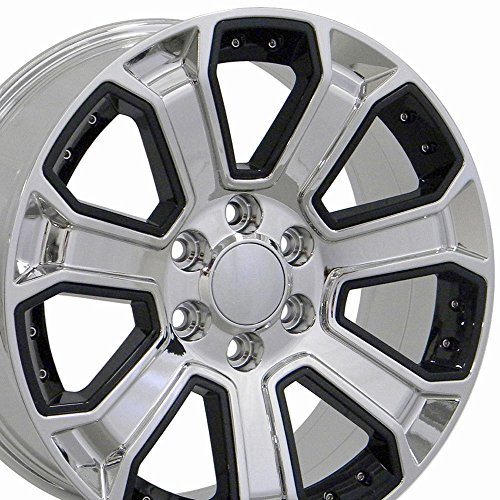 20x8.5 Wheels Fit GM Trucks - Chevy Silverado Style Chrome Rims w/Black Inserts, Hollander 5661 - SET