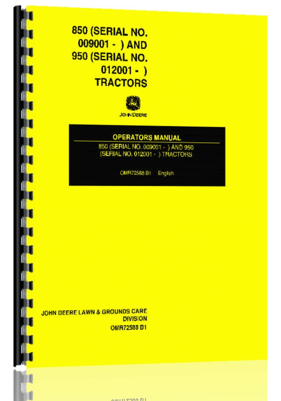 Amazon.com : John Deere 850 950 Tractor Operator Manual : Wirebound  Notebooks : Office Products