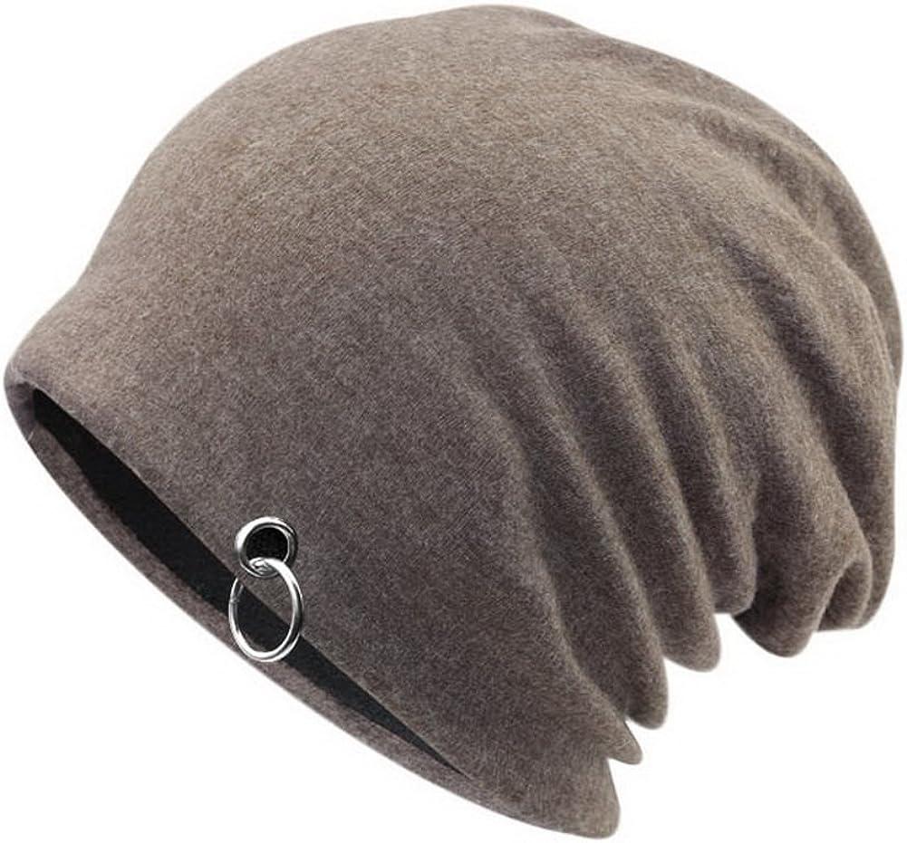 Mens Winter Slouchy Hat Knit Hat Plus Velvet Warm Cap Silver Circle Style Khaki