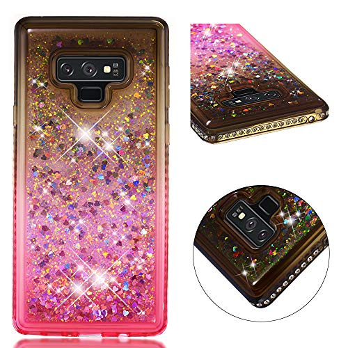 (Galaxy Note 9 Case,UZER 3D Diamong Gradual Change Series Cute Bling Quicksand Moving Flowing Floating Luxury Twinkle Glitter Shining Sparkle Slim Thin TPU Bumper Liquid Case for Samsung Galaxy Note 9)