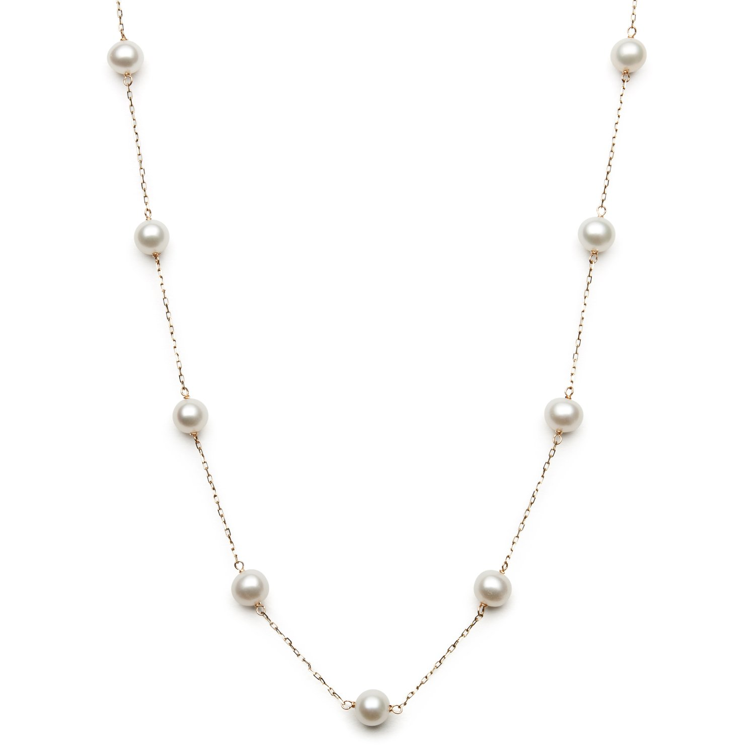 10k Yellow Gold White Cultured Freshwater Pearl Chain Station Tin Cup Necklace, 18'' by Belacqua