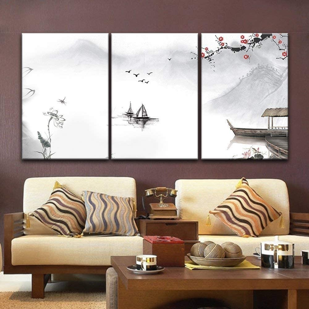 it is good, Fascinating Technique, 3 Panel Chinese Ink Painting Style Landscape with Mountains and River in Spring x 3 Panels