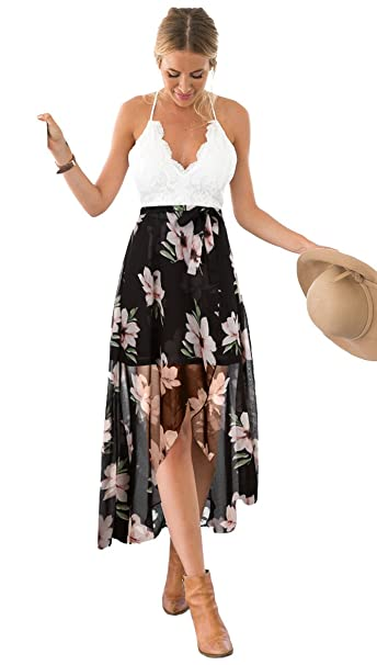 969e72c1b95 Blooming Jelly Women s Deep V Neck Sleeveless Summer Asymmetrical Floral  Maxi Dress Black