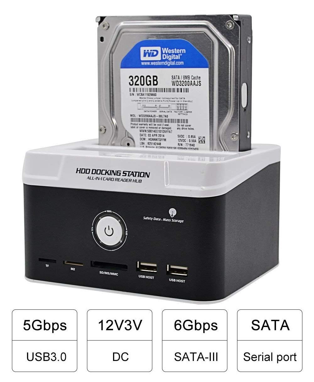 USB 3.0 to SATA External HDD Three Bay M2 Offline Clone Function for 2.5//3.5 HDD IDE SATA I//II// III XD Card Reader Hub MS//CF MS//TF SD//MMC fosa Dual-Bay Hard Drive Docking Station