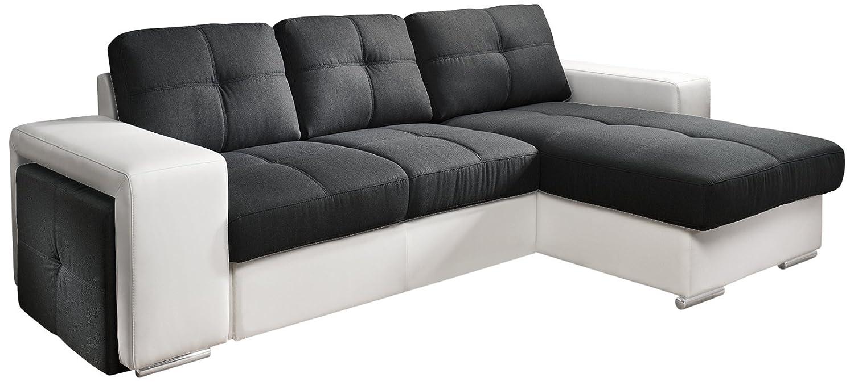 Cotta C209660 C310/H350 Polsterecke mit Schlaffunktion und Bettkasten, 278 x 157 cm, Kunstleder weiß mit Strukturstoff schwarz