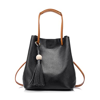 88721e3fd9c0 Image Unavailable. Image not available for. Color  Drawstring Bucket Bag  Women Genuine Leather Handbag Female Shoulder Crossbody ...