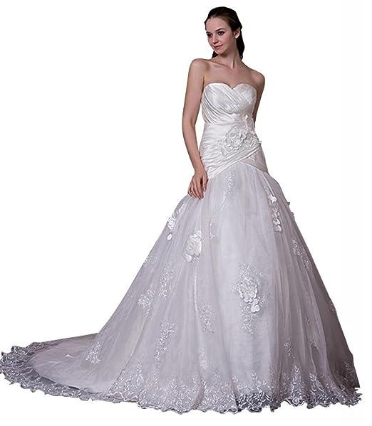 George Bride Nueva Princesa traegerlosen vestido de novia con aplicaciones Vestidos de novia Vestidos de Boda: Amazon.es: Ropa y accesorios