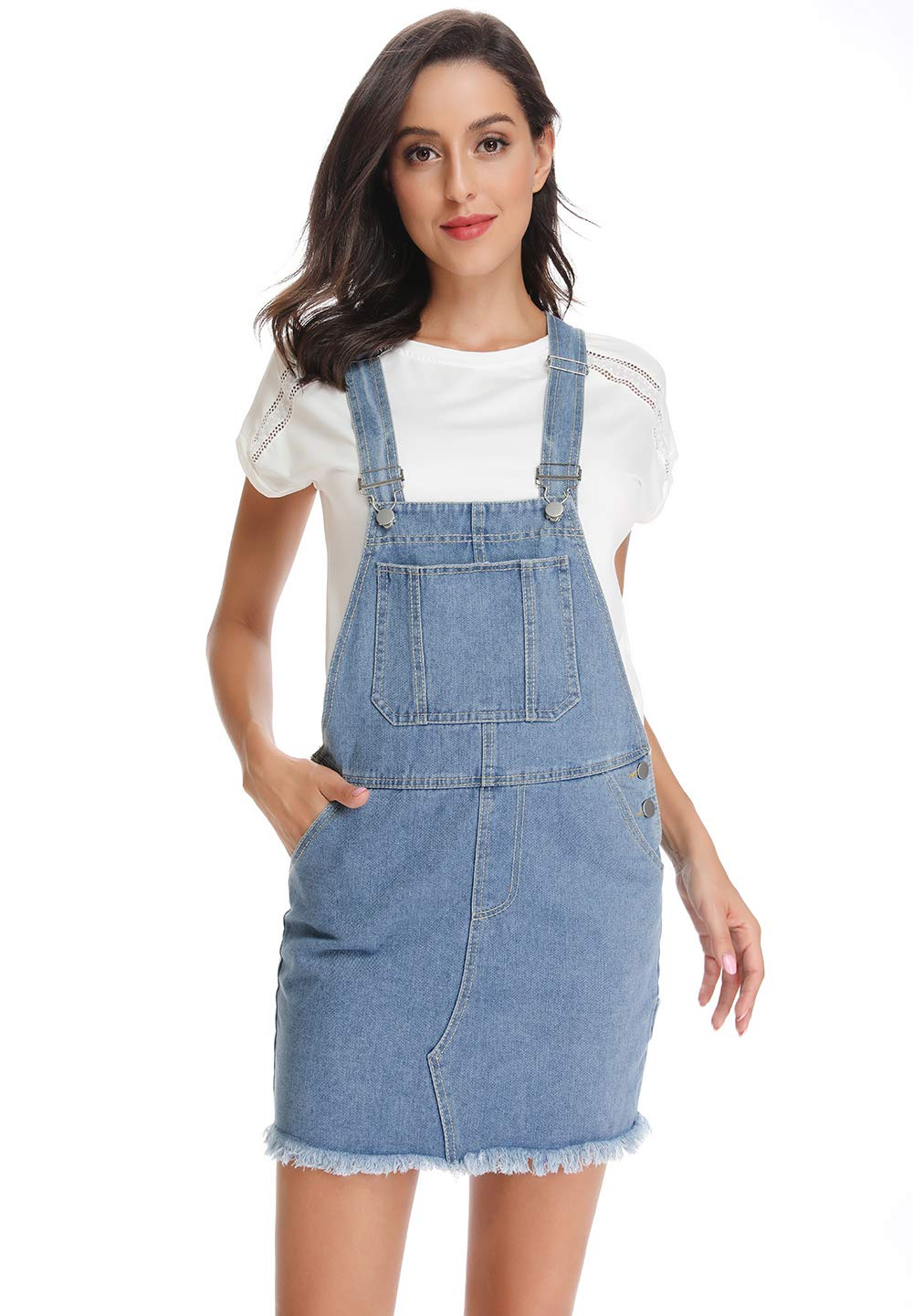 Women's Classic Adjustable Strap Distressed Denim Overall Dress with Pocket 3