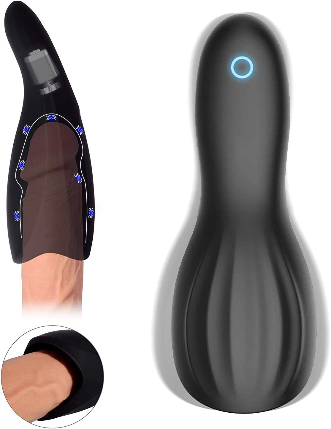 Male Massager Kit with 7 Thrusting Modes Suction and Vibration Massage Vacuum Pump Tool, Men's Licking Pennis Sucking Device for Boyfriend Husband Sexy Underwear for Man Vioce Moaning Toys,T-Shirt