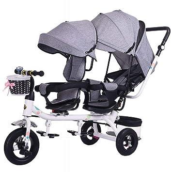 YUYU Doble Triciclo Doble Asiento Infantil Bicicleta Cochecito de Bebé Doble 1-7 Años Coche de Bebé,Gris,1: Amazon.es: Deportes y aire libre