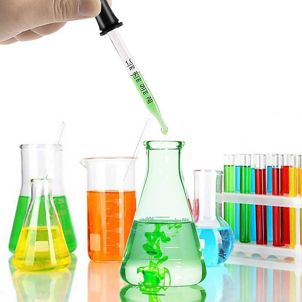 calibr/é en verre Dropper 1/ml huiles essentielles Pipette compte-gouttes avec t/ête en caoutchouc Noir Straight-tip calibr/é en verre Pipette pour m/édicament en verre Dropper laboratoire M/édecine Dropper Lot de 10