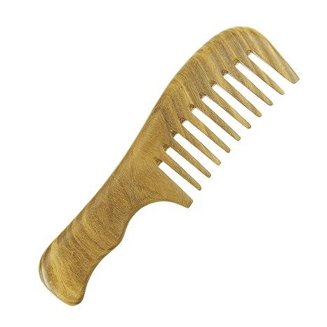 Sándalo peine antiestático de madera Pelo Peine Peluquería Masaje Pelo Peine de Ancho diente pelo cepillo