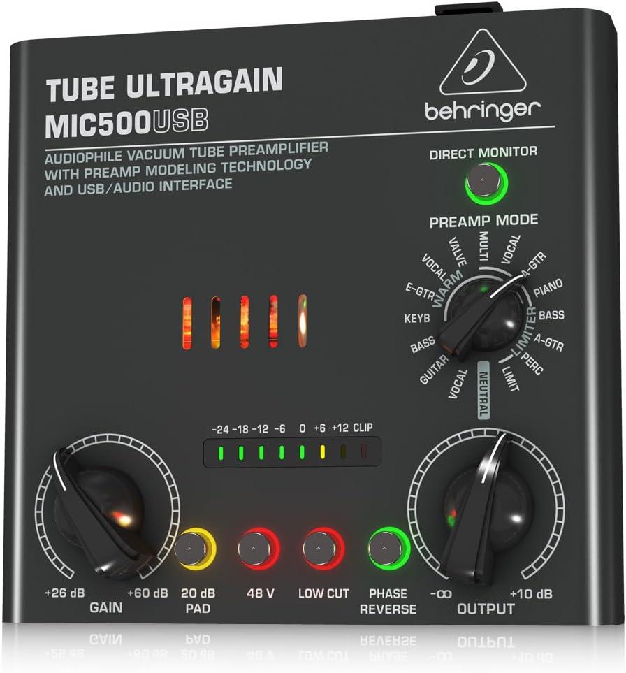 BEHRINGER TUBE ULTRAGAIN MIC500USB,Black