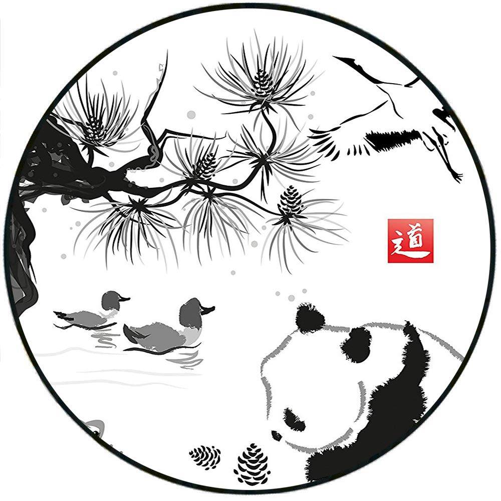 Short plush round rug bird cedar panda bear traditional japanese painting style art hieroglyph image black white and gray anti slip childrens floor 78 4 x